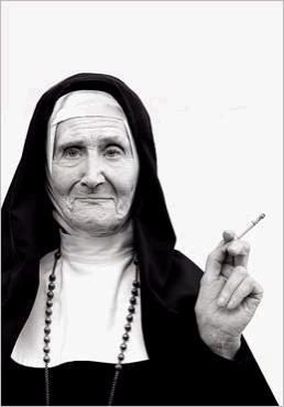 Nun smoking